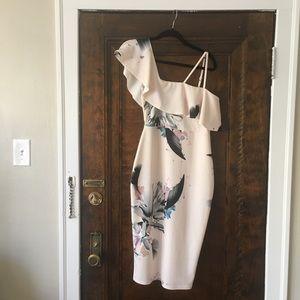 Asos One Shoulder Pink Floral Print Dress